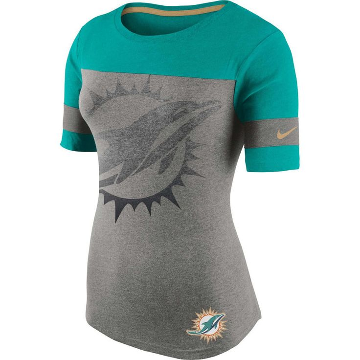 Miami Dolphins Nike Women's Championship Drive Gold Collectionan T-Shirt - Gray