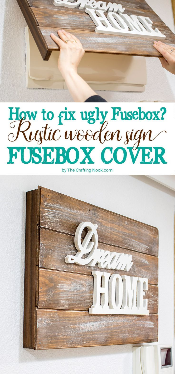 this rustic wooden sign fusebox cover is pretty is easy to make and will fix the visible breaker box problem forever  [ 736 x 1570 Pixel ]