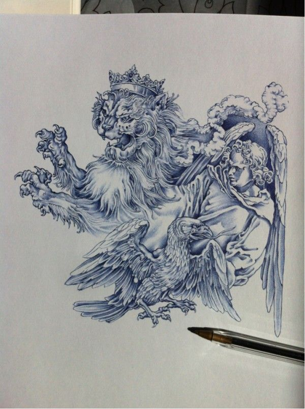 Incredibly Illustrated Drawings Using Only A Bic Pen - DesignTAXI.com - Just a Bic pen? Seriously?! I'd like just a fraction of this talent!!