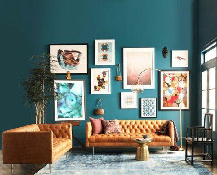 couleur peinture salon bleu ptrole canaps orange modernes richesse des lments dco