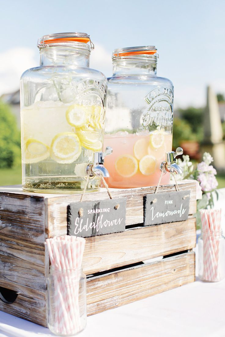 Drinks Dispenser Cocktail Bar - Rachel Rose Photography | Classic Pastel At Home Marquee Wedding