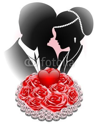 #Weddings #Just #Married #Couple With #Red #Roses #Bouquet-#Vector © bluedarkat