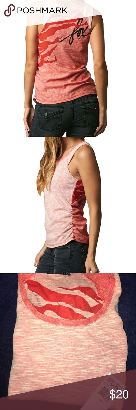 """Fox Racing Irrational Women's Tank Top Made from 60/40% cotton poly plated slub jersey Self fabric on front is mixed with reverse side of self fabric on back to create a color blocked effect Slight shirring at side bottom Fox logo screen print with burnout across back 27"""" body length Fox Tops Tank Tops"""