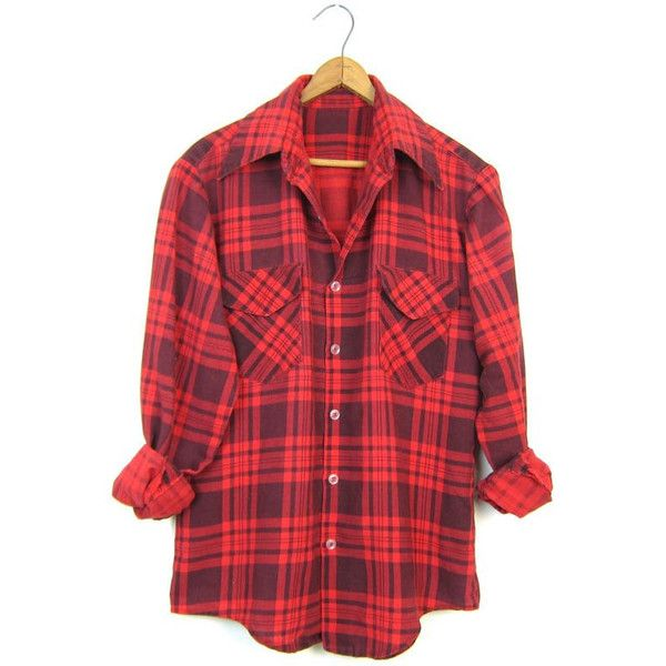 Vintage Red Plaid Flannel Black Grunge Shirt 80s Soft Cotton Button Up... (47 CAD) ❤ liked on Polyvore featuring tops, red top, plaid shirts, red shirt, plaid button up shirts and red button down shirt