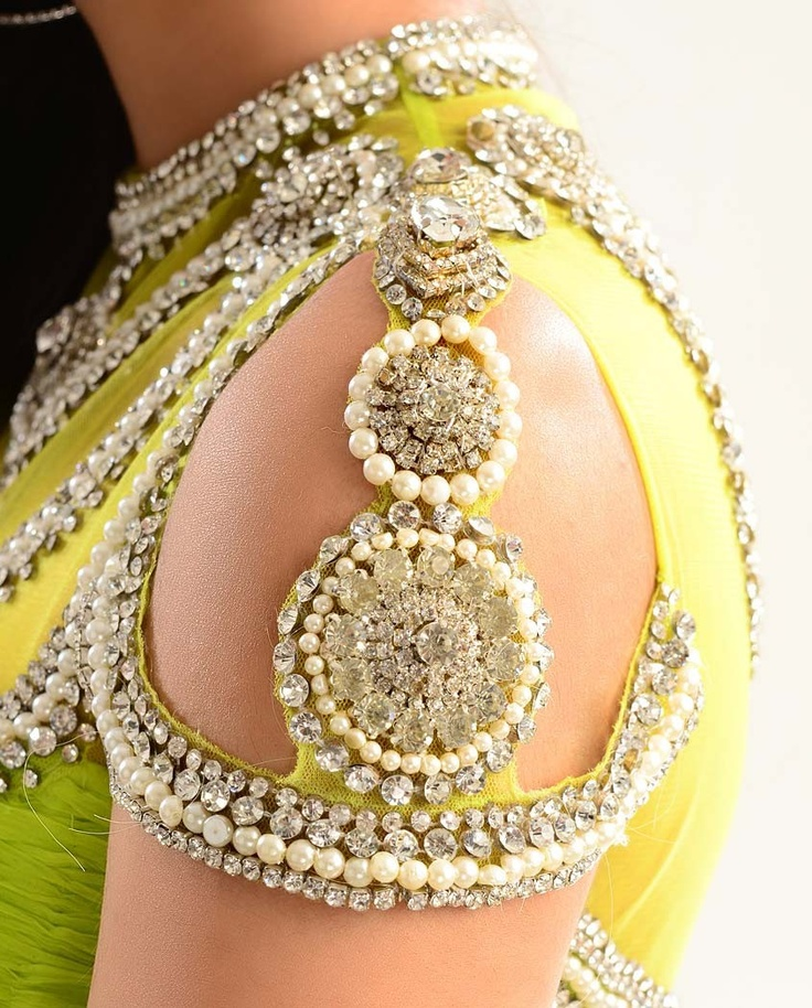 #WoW Embellishment on Neckline and Sleeves of Neon Green Kalidar Suit