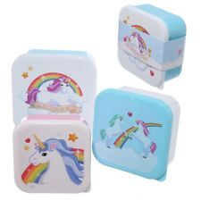 Click that link to learn more about Fun Unicorn Design Set of 3 Plastic Lunch Boxes by weeabootique!