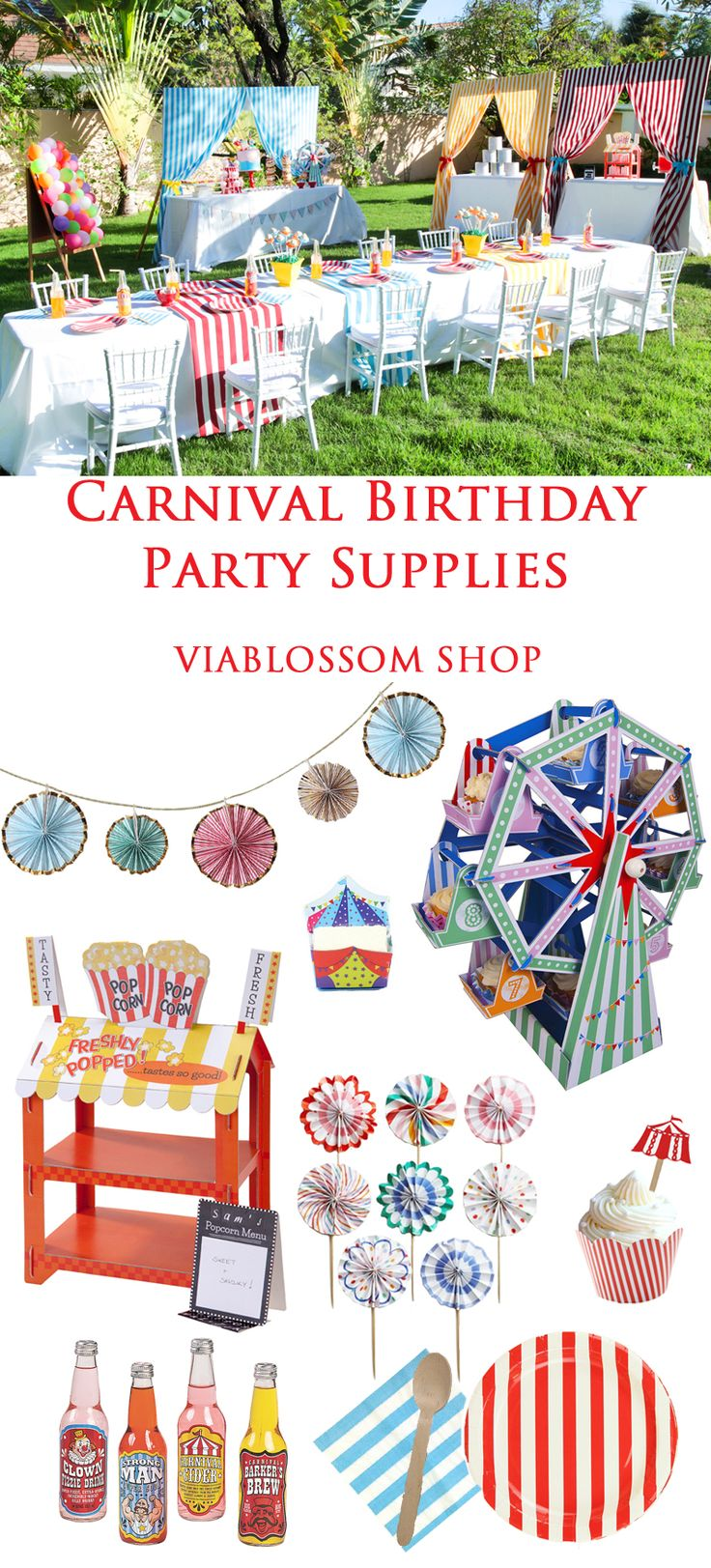 Carnival Birthday Party Supplies for the coolest party in town!!!  All available at the Via Blossom Shop!