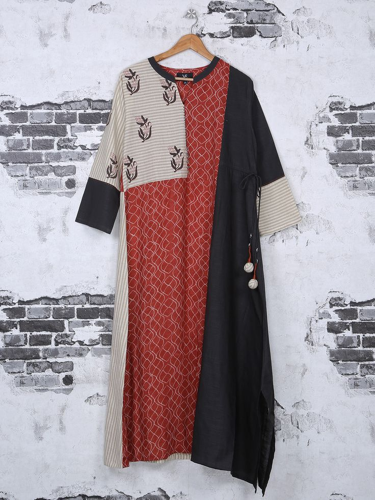 Red And Black Cotton Kurti For Festive, Black Cottonl Wear Kurti For Casual, black kurti, kurta, kurti designs, latets kurti trends, casual kurtis, designer kurti, party wear kurti
