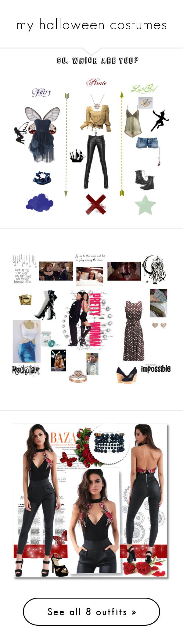 """""""my halloween costumes"""" by surreal-starr ❤ liked on Polyvore featuring Balmain, La Preciosa, Once Upon a Time, CLEO, Melissa, Wet Seal, Dsquared2, WALL, Wall Pops! and Paul Frank"""