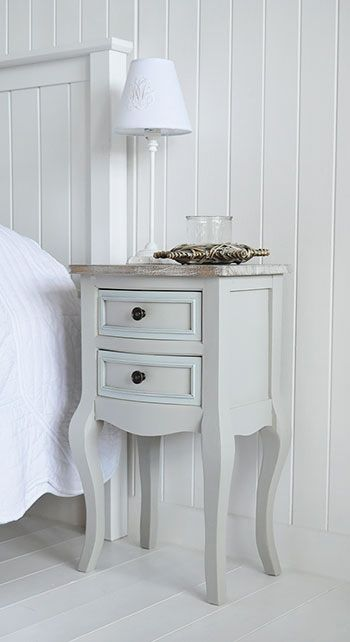 Bridgeport grey bedroom furniture, bedside table with drawers. The White Lighthouse offers bedside tables and cabinets in grey and white to our own unique style combining New England, Cottage, French, Vintage and Coastal
