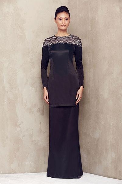 Black Tulle Lace Baju Kurung
