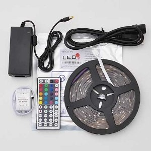 Waterproof 150 Color Changing SMD5050 LED Lighting Strip Kit RGB 16.4ft  2038kit: Included in the kit: - 16.4 feet RGB LED waterproof flexible strip -Power supply- Wireless remote controller - Wireless receiver - End caps and mounting hardware This color changing LED lighting strip kit has everything you need to add color and light to any room, even outside since it is fully protected in a waterproof casing. Easily change colors and modes via wireless remote control. Click Image For more…