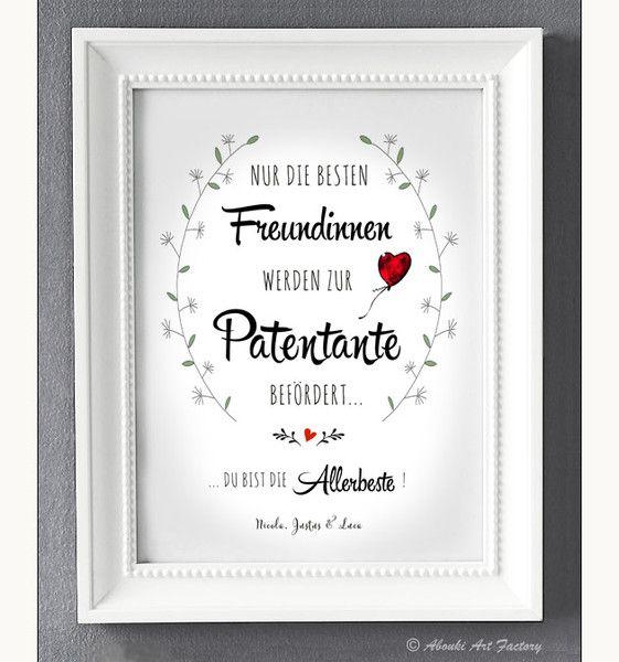 Originaldruck - Kunstdruck Allerbeste Patentante - PERSONALISIERT! - ein Designerstück von AboukiArtFactory bei DaWanda