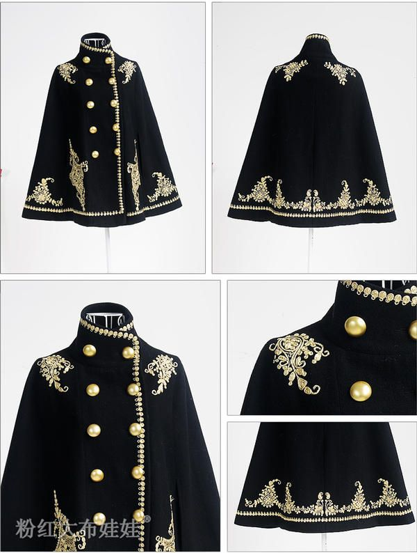 Wool-Blend Double-Breasted Embroidered Cape Jacket - Dabuwawa | YESSTYLE