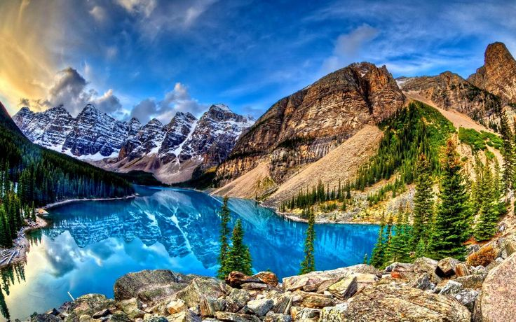 Earth Moraine Lake  Banff National Park Valley Of Ten Peaks Lake Mountain Peak Valley Rocky Mountains Canada Landscape Alberta Reflection Wallpaper