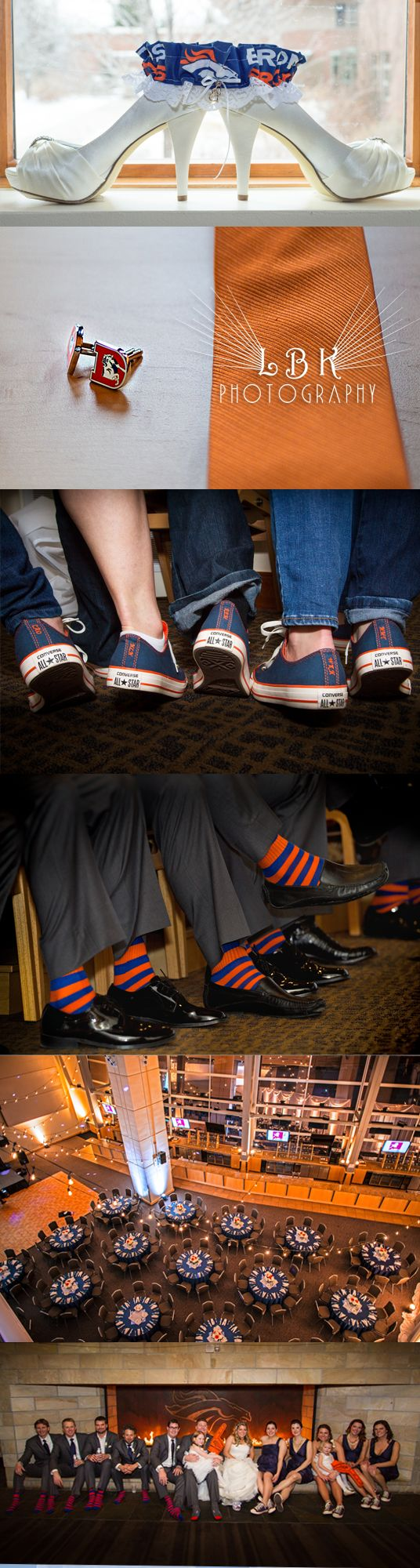 LBK Photography  Sports Authority Field Wedding.  Denver Broncos themed wedding, Broncos Garter, Broncos cufflinks, Broncos Converse, Broncos socks, at the Broncos Stadium. Football lovers wedding.  Colorado Wedding Photography