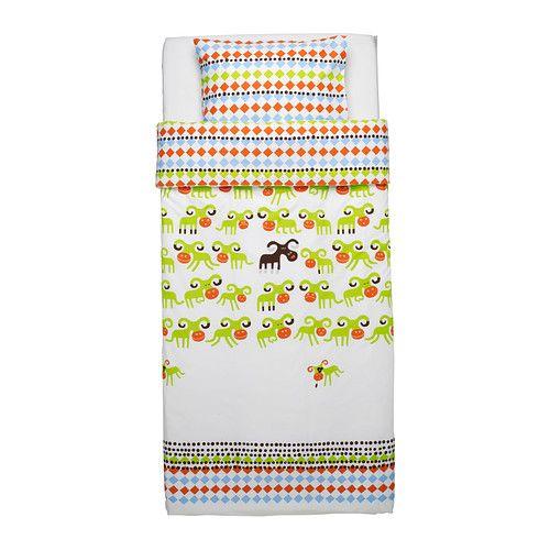 IKEA - KOSSAN, Housse de couette et taie, , En coton, doux et agréable sur la peau de votre enfant.