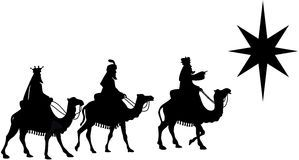 Three Wise Men on Camel Back Silhouette Royalty Free Stock Images