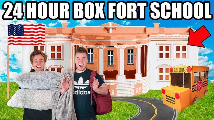 24 HOUR BOX FORT HIGH SCHOOL CHALLENGE!! 📦🚌 Robots, Cool Kids & School R...