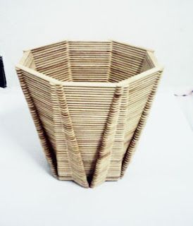 vase made with popsicle sticks: