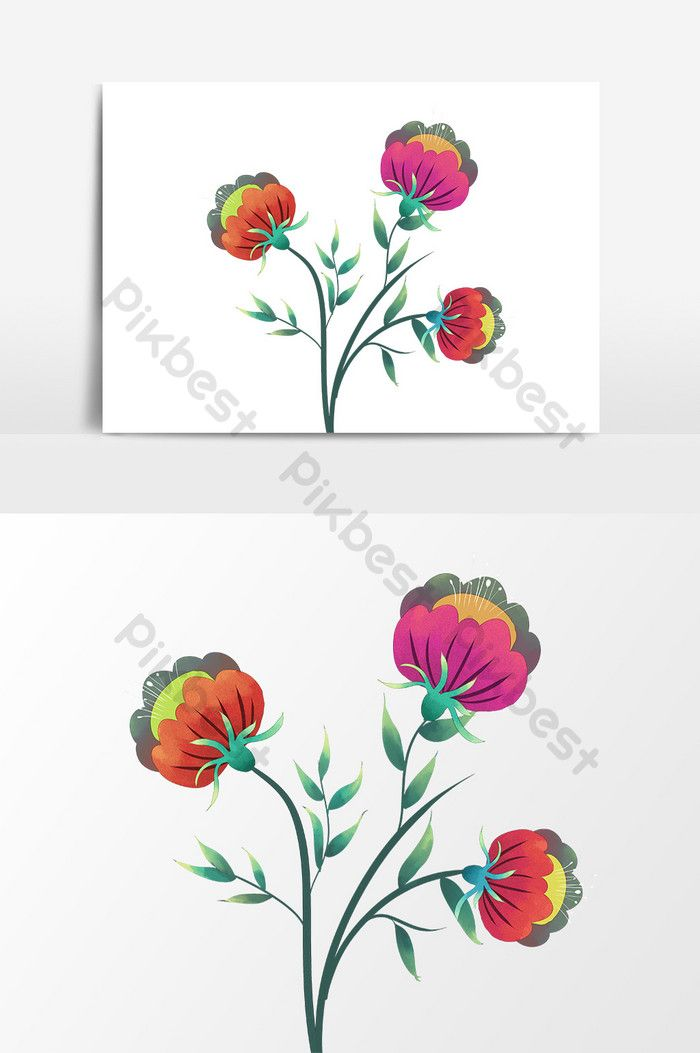 Cartoon Drawing Green Leaf Red Flower Png Images Psd Free Download Pikbest Flower Png Images How To Draw Hands Red Flowers