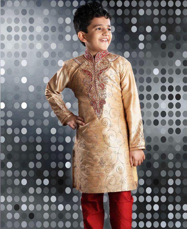 Buy Stunning Beige Kids Kurta Pyjama online at  https://www.a1designerwear.com/stunning-beige-kids-kurta-pyjama  Price: $44.63 USD