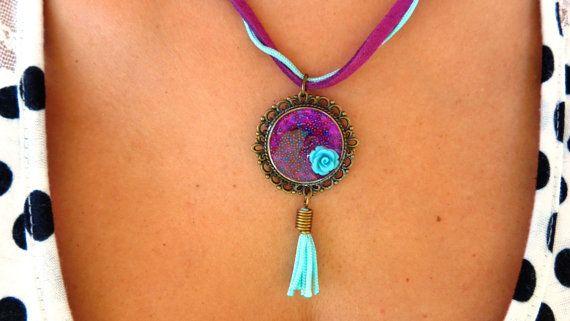 Τurquoise and purple necklace decoupage antique by ArtisticBreaths