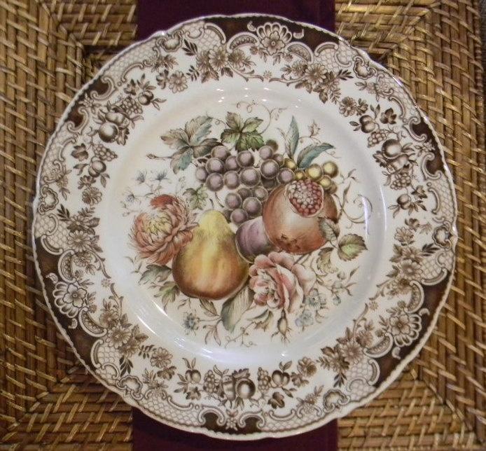 Beautiful pattern!  Johnson Brothers Windsor Ware Harvest Fruit Plate Brown Transferware hand painted