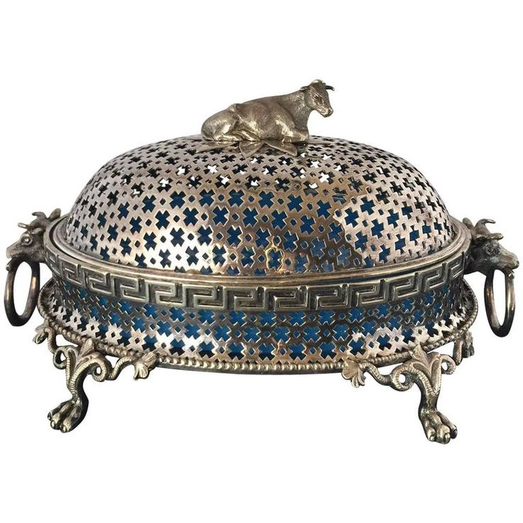 """French 19th Century Silver Plated Pierced Dome Butter Dish """"Cow Finial"""" 