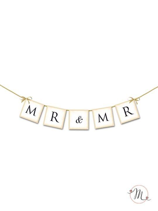 Ghirlanda Mr & Mr.  Ghirlanda in cartoncino rigido per allestire la vostra sala.  Misura approssimativa: 0,80 cm. #wedding #unionicivili #lgbt #samesexwedding #lovewins #loveislove #gaywedding #lesbianwedding #gaylove #same-sexwedding #samesexweddings #mr