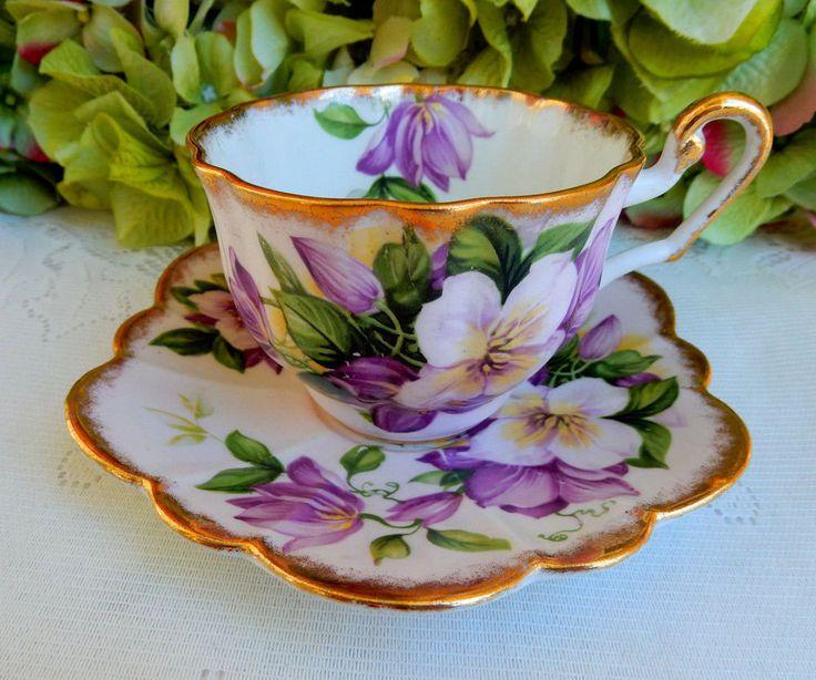 Vintage Windsor English Bone China Porcelain Cup & Saucer Lavender Flowers Gold #Windsor