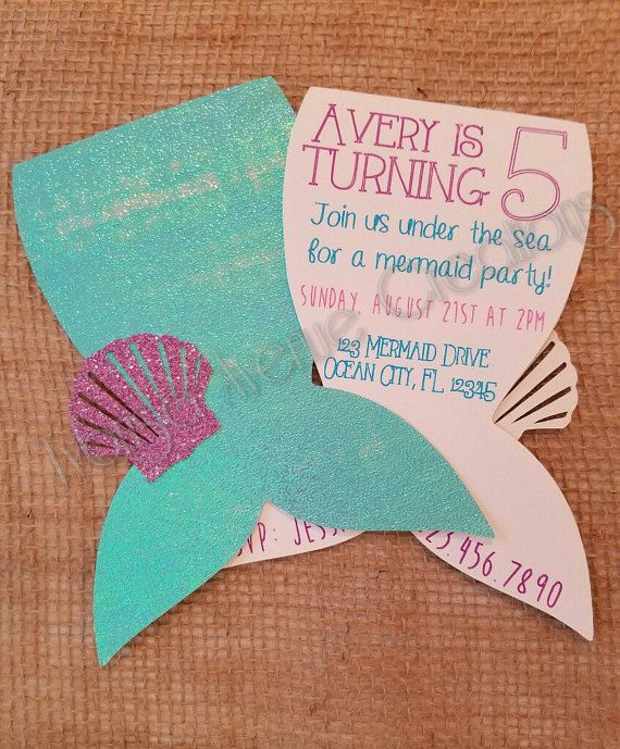 12 Mermaid Invitations with Envelopes by TybrisaAveCreations