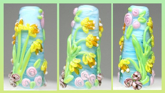 Daffodil bead Floral lampwork focal pendant Flower ornament