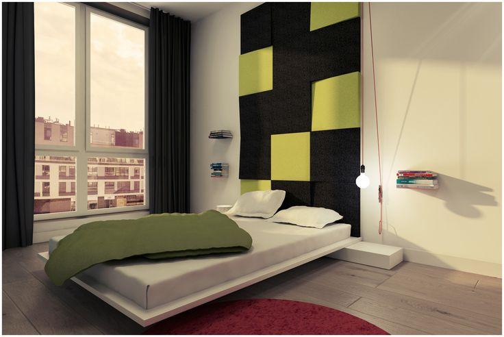 Sypialnia z wykorzystaniem miękkich paneli ściennych 3D Fluffo, Fabryka Miękkich Ścian (kolekcja CUBE). Projekt by:  www.2k-architektura.com