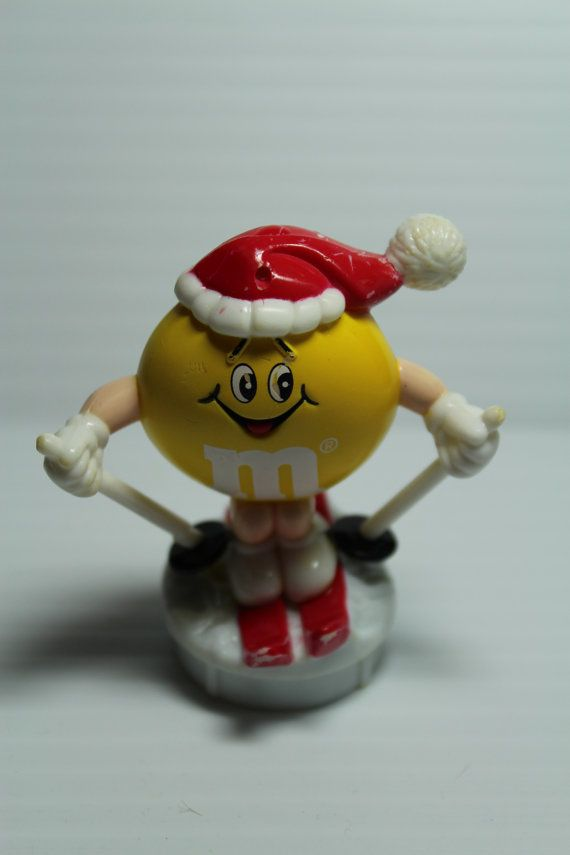 M&M Candy Topper Collectible Christmas Ornament, Yellow collectible topper, Skiing figure, Ski figure, winter collectible, Christmas time