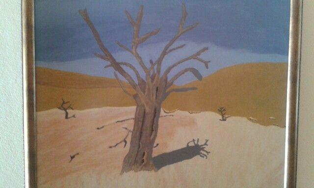Tree in desert.. Acrylic on canvas. Artist is Charl Blignaut. 2011