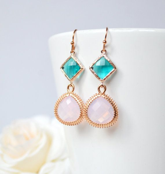 Soft pink bridesmaid earrings aqua dangle by ArtemisBridalJewelry
