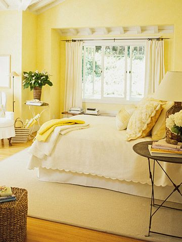 Yellow! Cozy, cottage, cottage bedroom, yellow bedroom, Better Homes & Gardens, buttery yellow