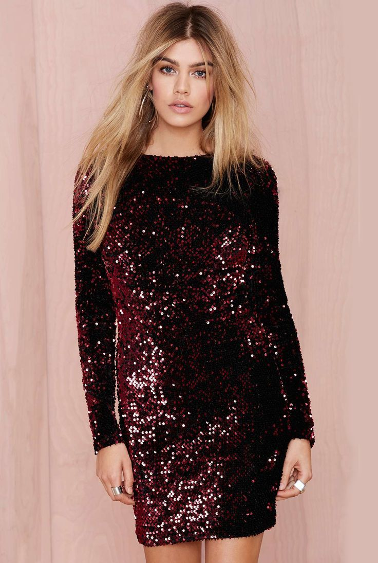 Wine Red Long Sleeve Sequined Backless Dress - abaday.com