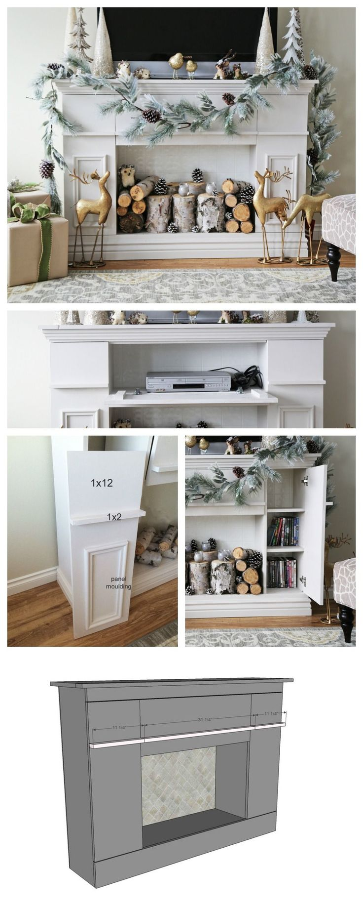 Ana White | Build a Faux Fireplace Mantle with Hidden Storage Cabinets | Free and Easy DIY Project and Furniture Plans