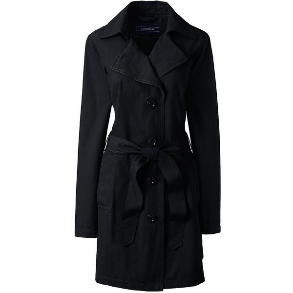 Lands' End Women's Petite Trench Coat - Harbor ($99) ❤ liked on Polyvore featuring outerwear, coats, black, trench coat, women's plus size coats, evening coat, plus size coats and lands' end