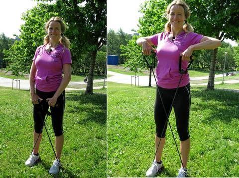 SKULDRENE: Dra til og brems armene på vei ned for å få mest mulig utbytte av øvelsen.