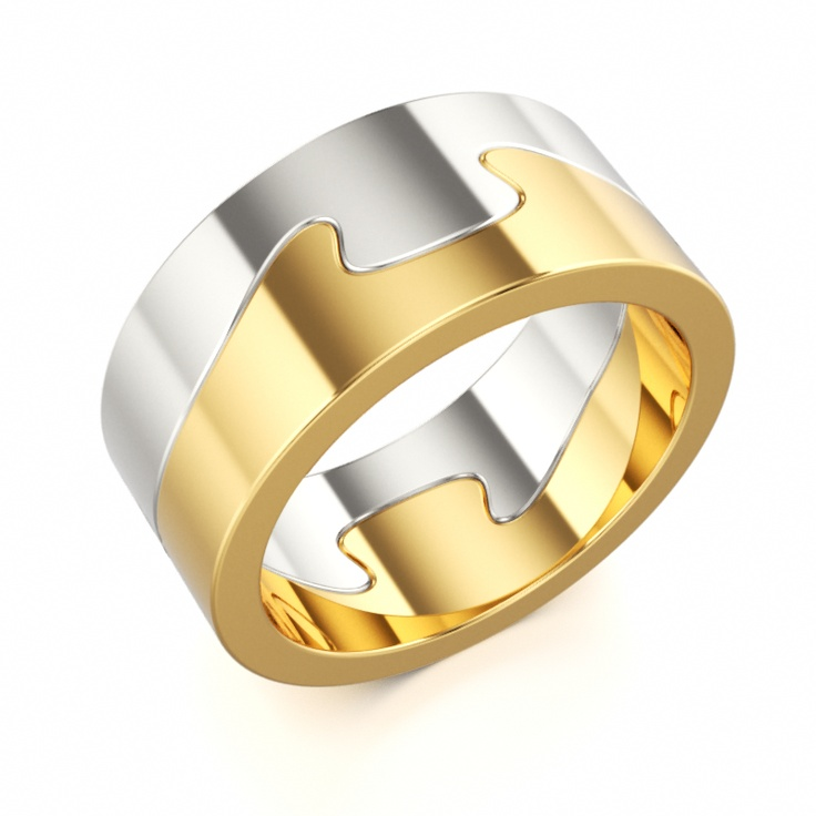 """White and Yellow Gold Band - """"Symbiosis"""""""
