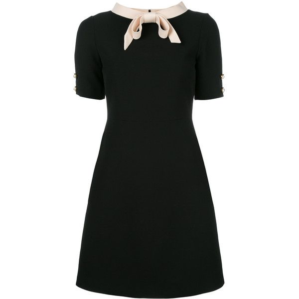 Gucci bow collar short sleeved dress (59 400 UAH) ❤ liked on Polyvore featuring dresses, black, bow dress, shift dress, zip back dress, short sleeve shift dress and short-sleeve shift dresses