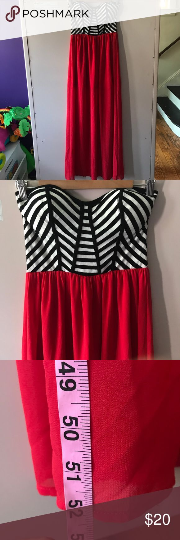Strapless maxi dress Striped black and white strapless top with red bottom maxi dress. Sheer red bottom over a shorter dress underneath! Measurements in pictures. Gold zipper in the back Love Chesley Dresses Maxi