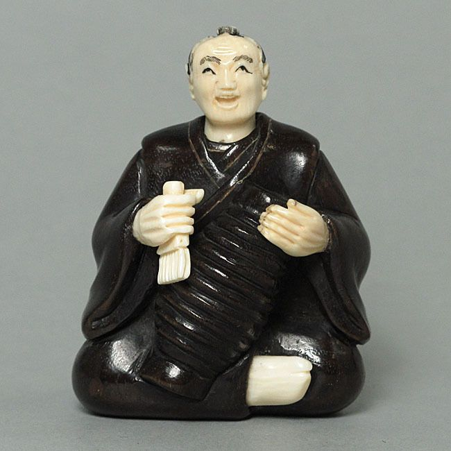 Antique Iron Wood Japanese Netsuke Japanese Old Man Carving WM0040