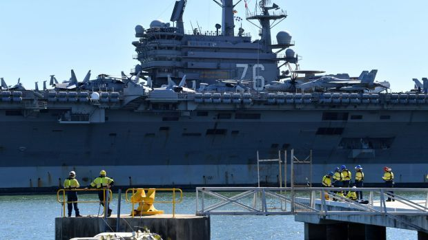 The USS Ronald Reagan arrives at the Port of Brisbane.