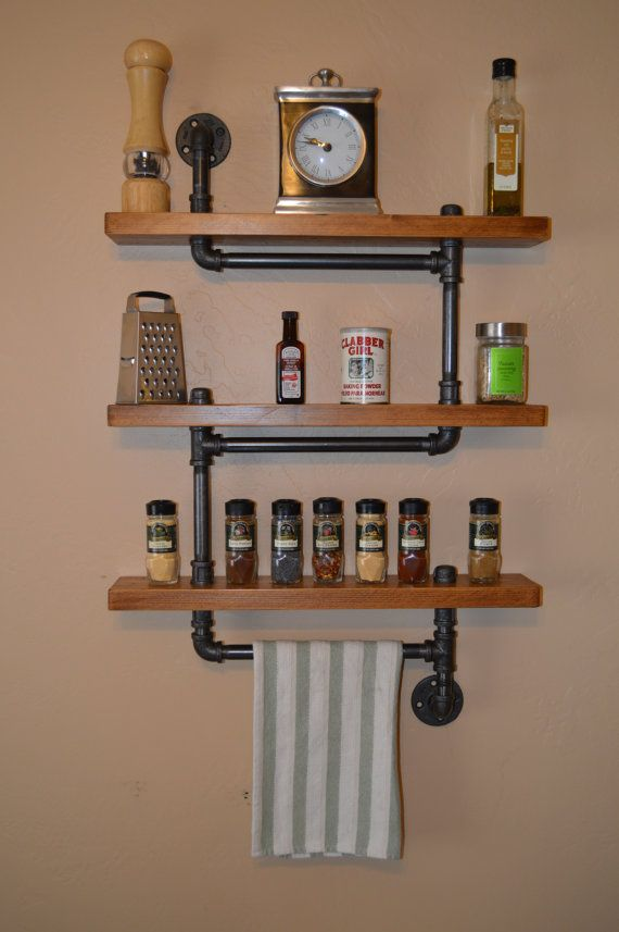 Industrial Pipe Spice Rack / Shelf Unit With by KingWoodworks