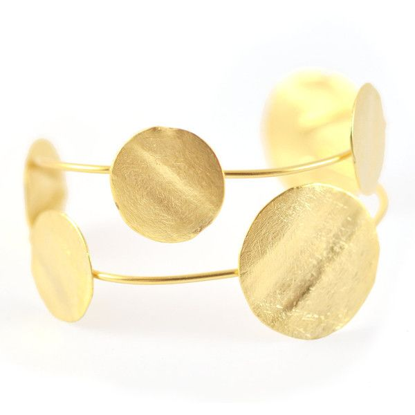 Gold Cuff Bracelet, modern bracelet, gold cuff bracelet, cuff... ($110) ❤ liked on Polyvore featuring jewelry, bracelets, cuff bangle bracelet, gold bangles, cuff bangle, coin jewelry and golden bangles
