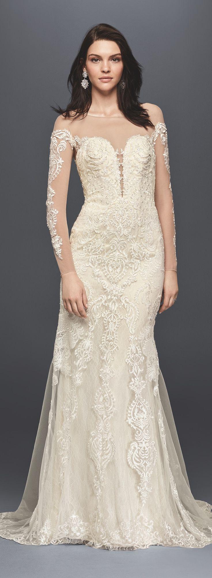 352 best bridal fashion images on pinterest wedding dressses long sleeve illusion lace wedding dress davids bridal spring 2017 davidsbridal galinasignature ombrellifo Images